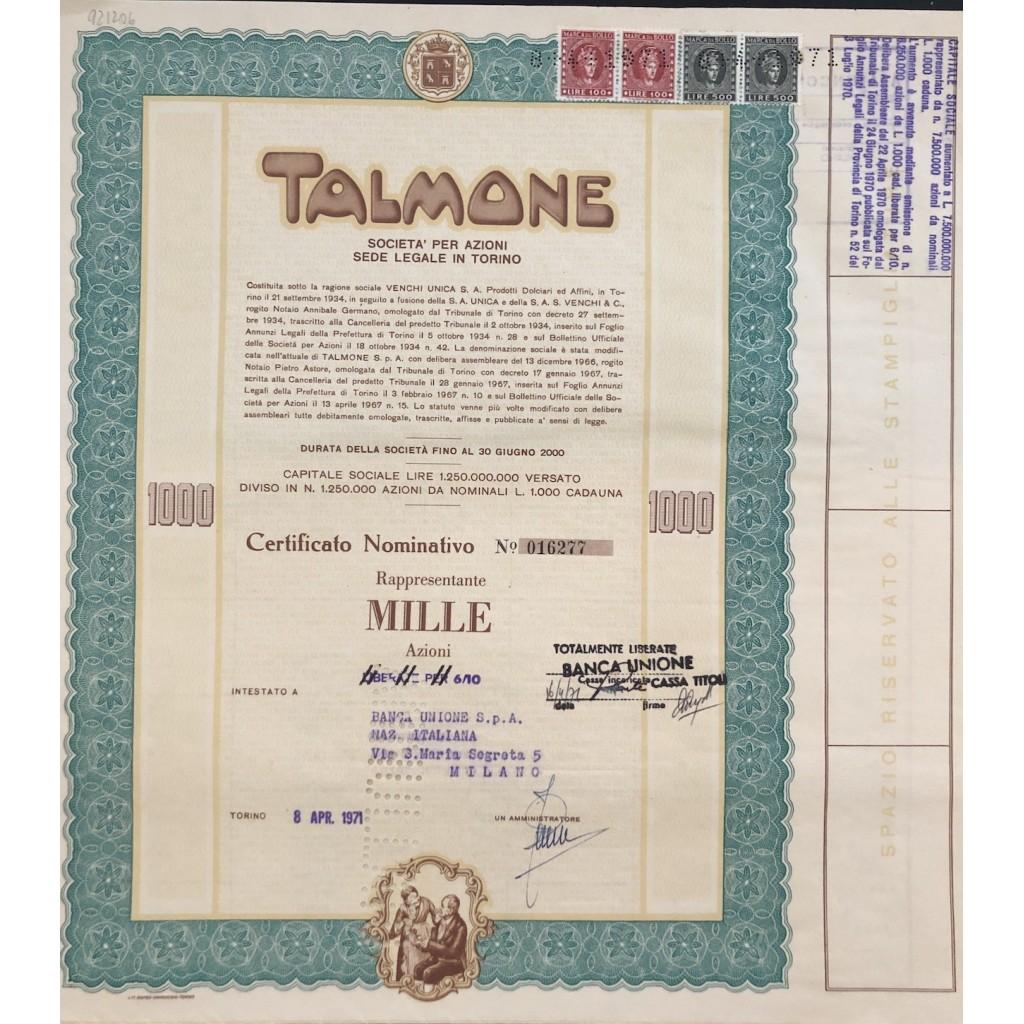 1971 - TALMONE CERTIFICATO DA 1.000...