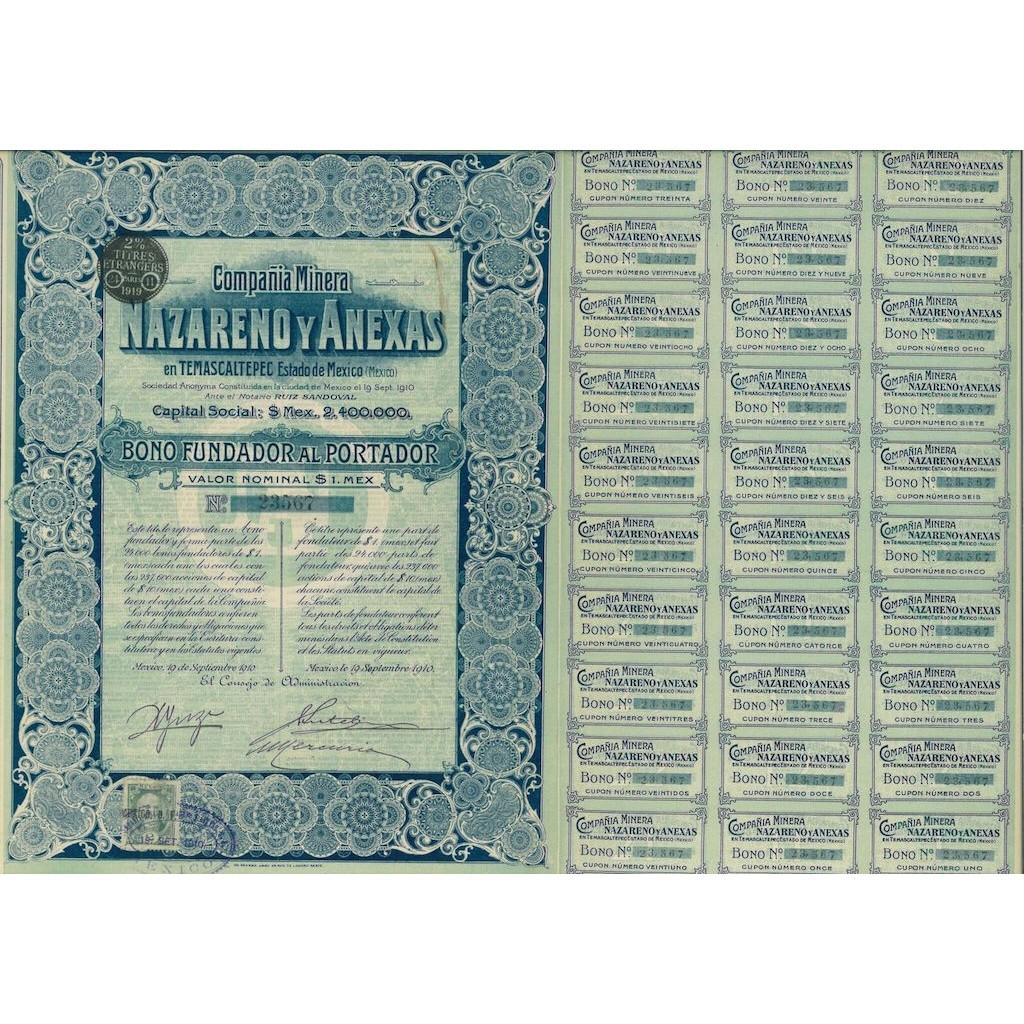 1910 - NAZARENO Y ANEXAS COMPANIA MINERA