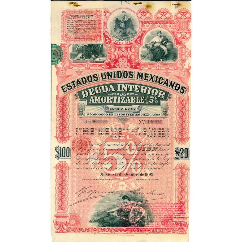 1899 - REPUBLICA MEXICANA 5% ESTADOS...