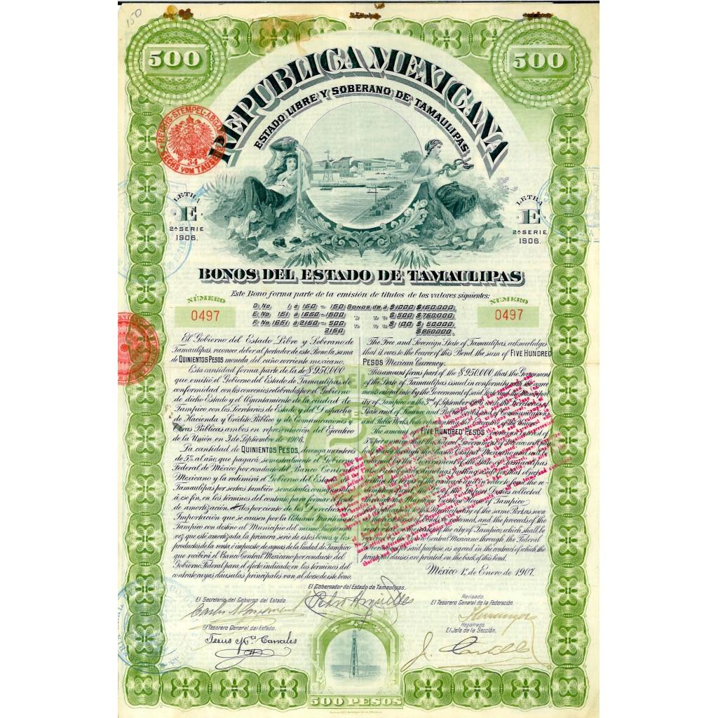 1907 - REPUBLICA MEXICANA - BONOS DEL...