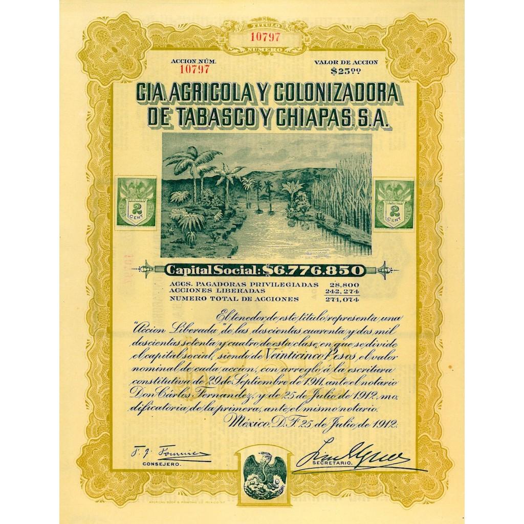1912 - CIA AGRICOLA Y COLONIZADORA DE...