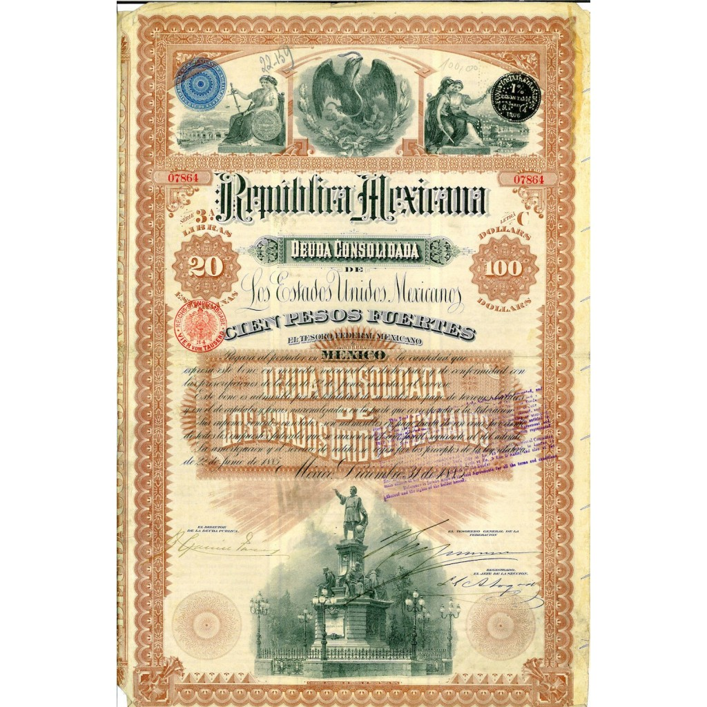 1885 - REPUBLICA MEXICANA - DEUDA...