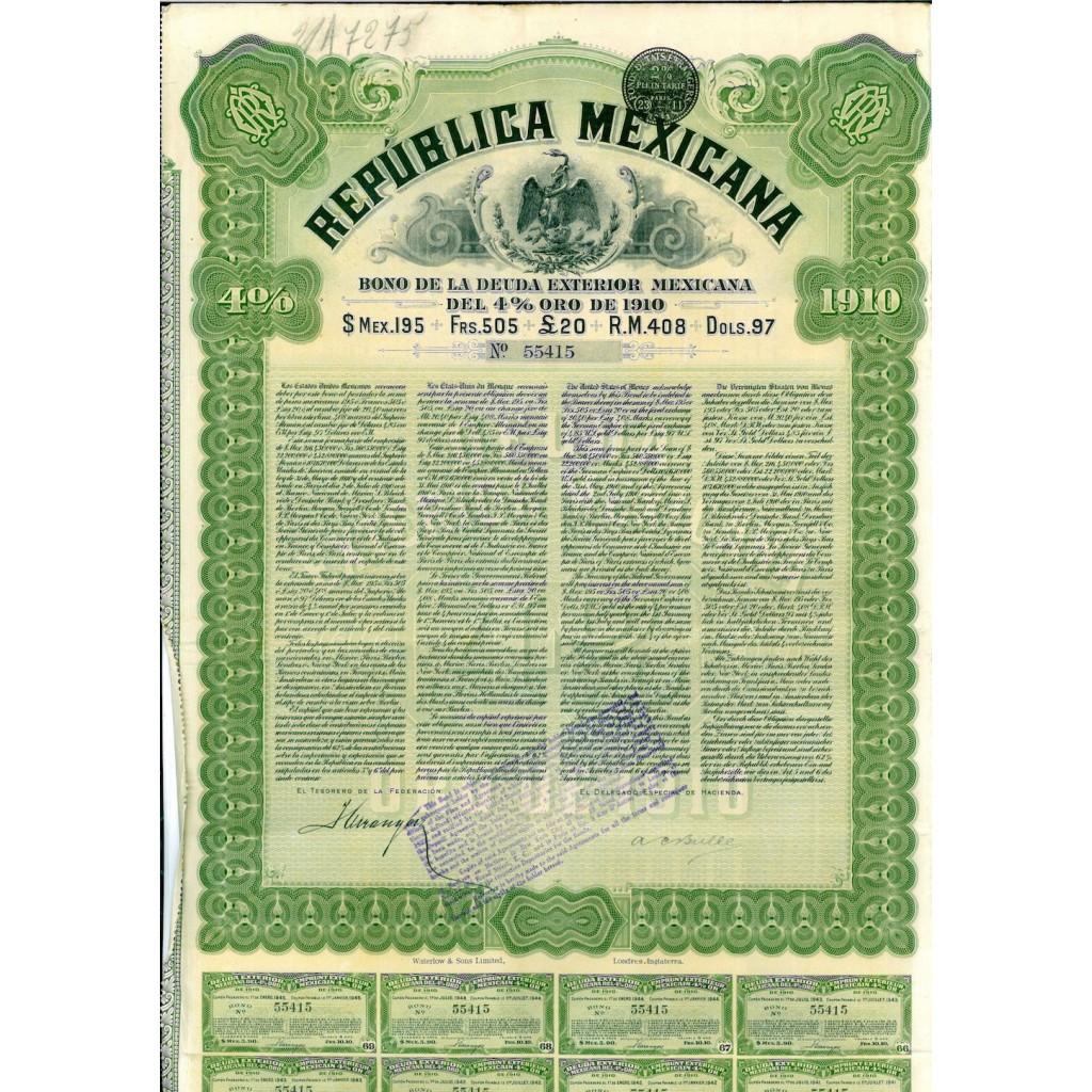 1910 - REPUBLICA MEXICANA GOLD BOND -...