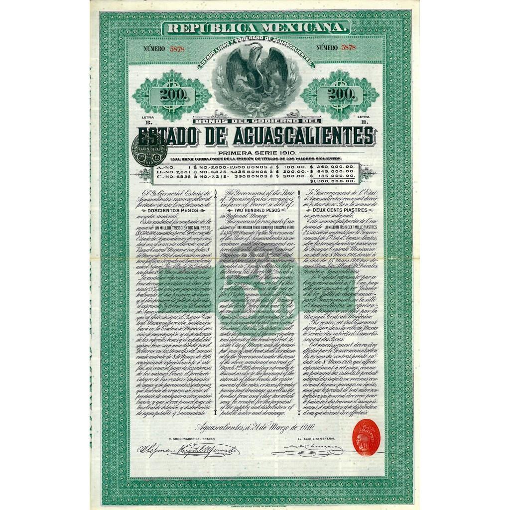 1910 - REPUBLICA MEXICANA - ESTADO DE...