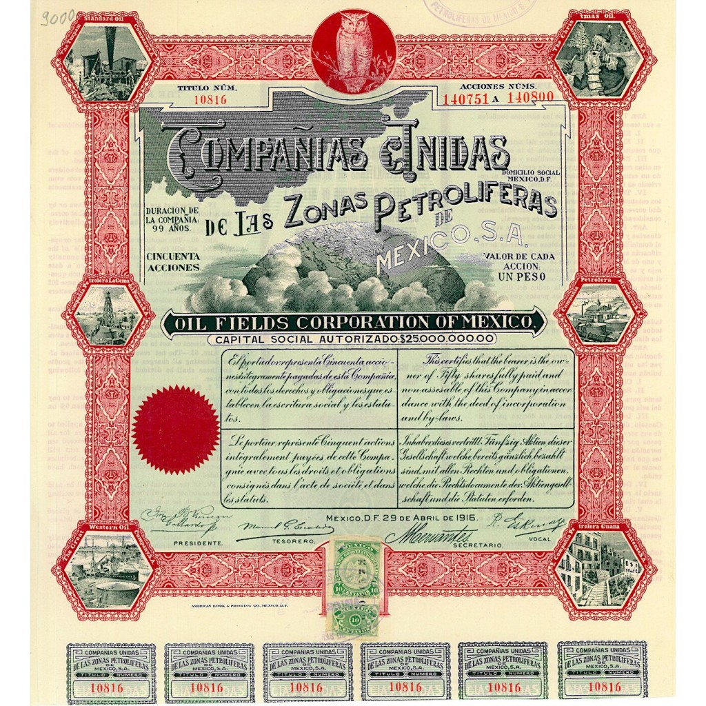 1916 - COMPANIAS UNIDAS DE LAS ZONAS...