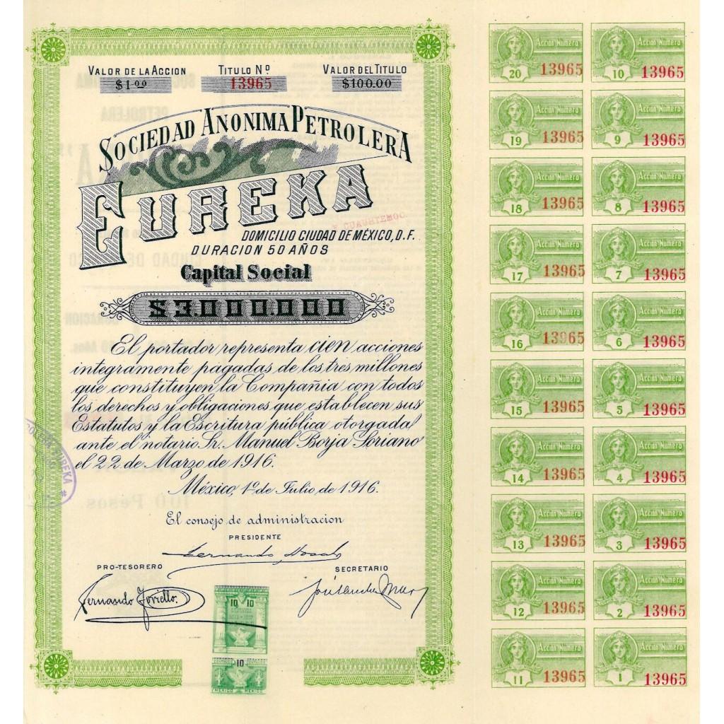1916 - EUREKA - SOCIEDAD ANONIMA...