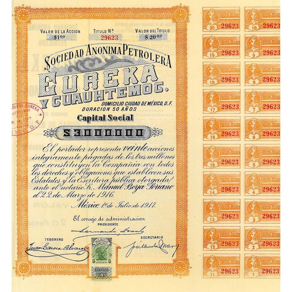 1917 - EUREKA Y CUAUHTEMOC - SOCIEDAD...