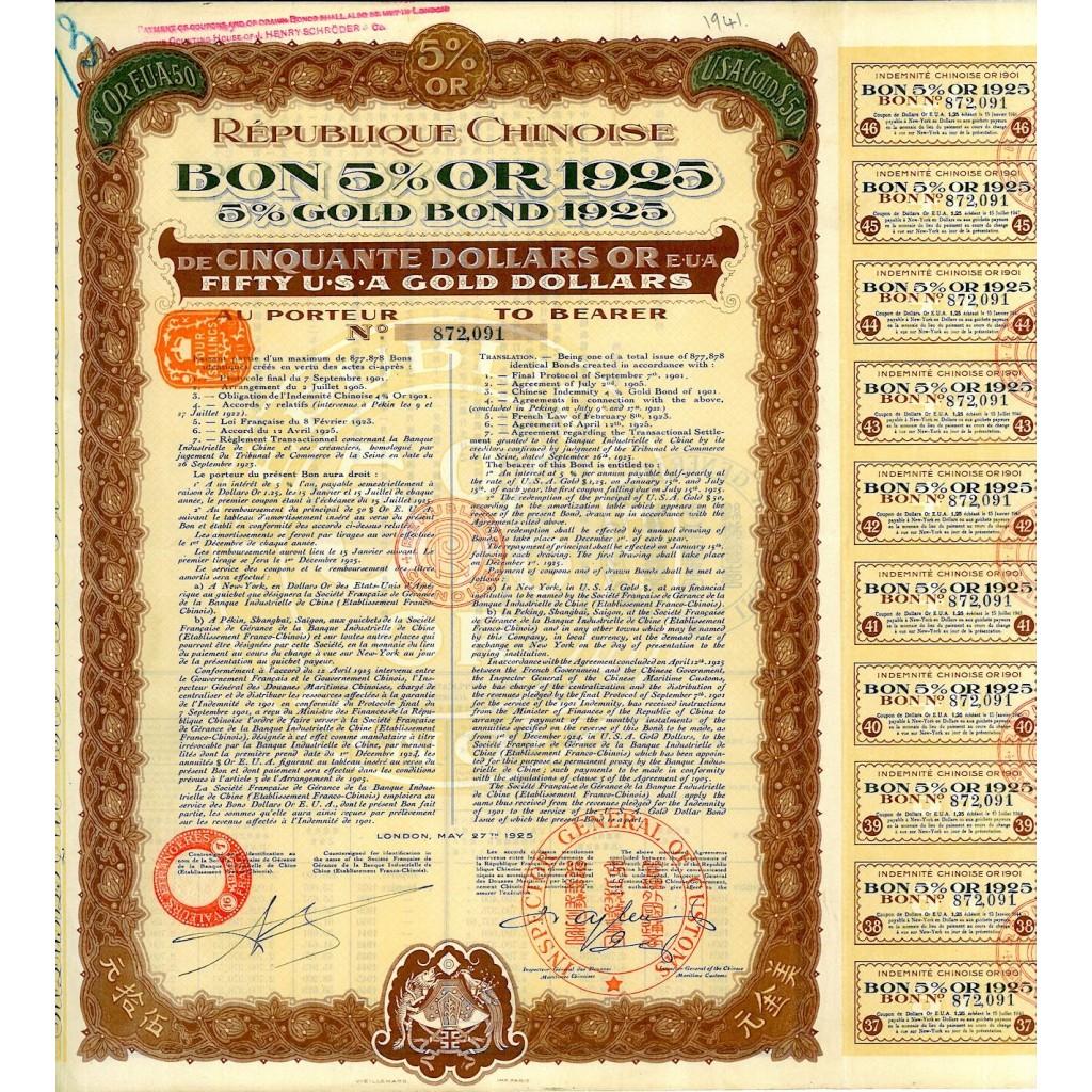 1925 - REPUBLIQUE CHINOISE - BON 5% $...
