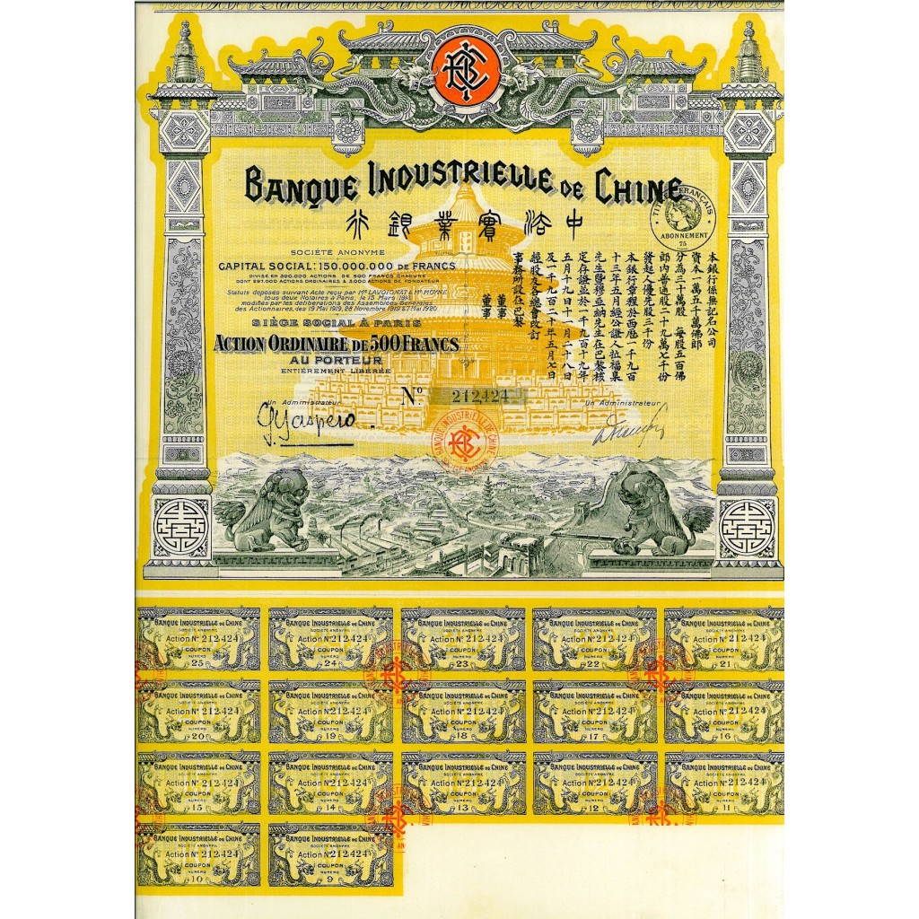 1913 - BANQUE INDUSTRIELLE DE CHINE...