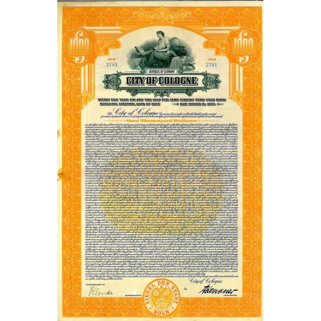 1925 - CITY OF COLOGNE GOLD BOND $1.000