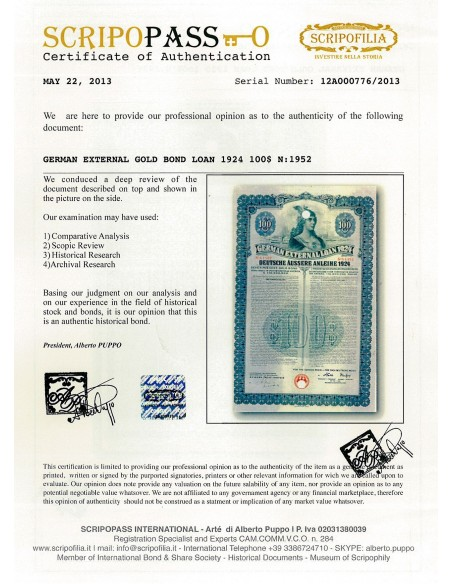 German 1924 External Loan $1000 Dollars uncancelled As-Is set of 3 war bonds