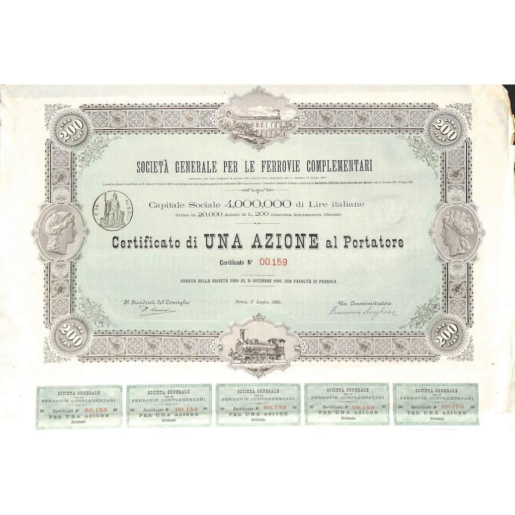 SOC. GEN. PER LE FERROVIE COMPLEMENTARI - UNA AZIONE ROMA 1885