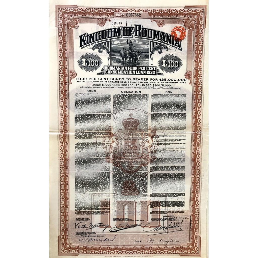 1922 - KINGDOM OF ROUMANIA 4%...