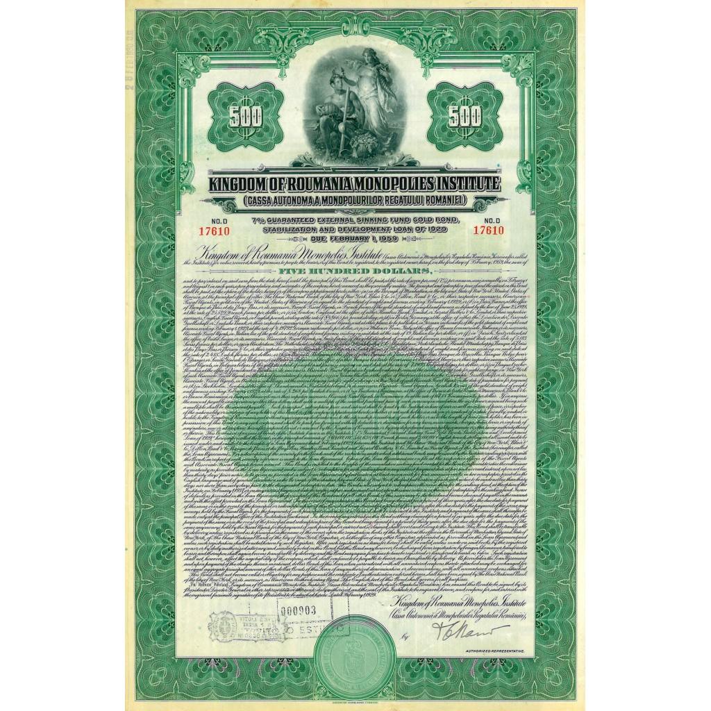 1929 - KINGDOM OF ROUMANIA MONOPOLIES...