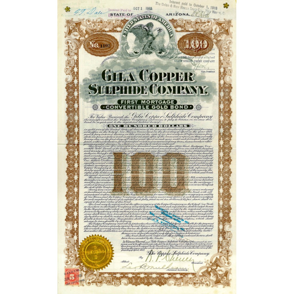 1918 - GILA COPPER SULPHIDE COMPANY...
