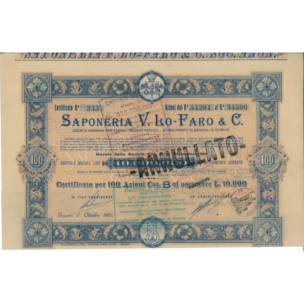 SAPONERIA V.LO-FARO & C. - 100 AZIONI GENOVA 1930