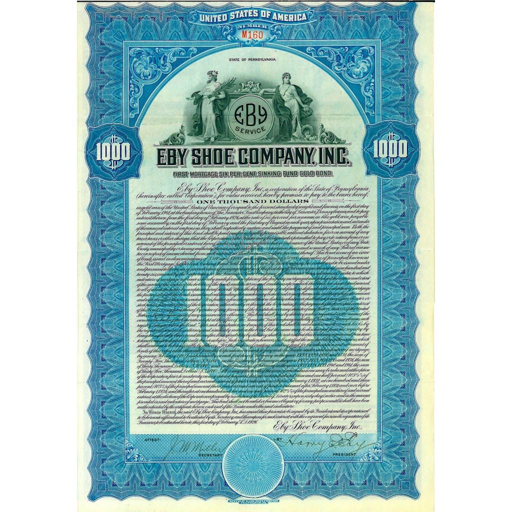 1926 - EBY SHOE COMPANY INC. 6%  Gold...