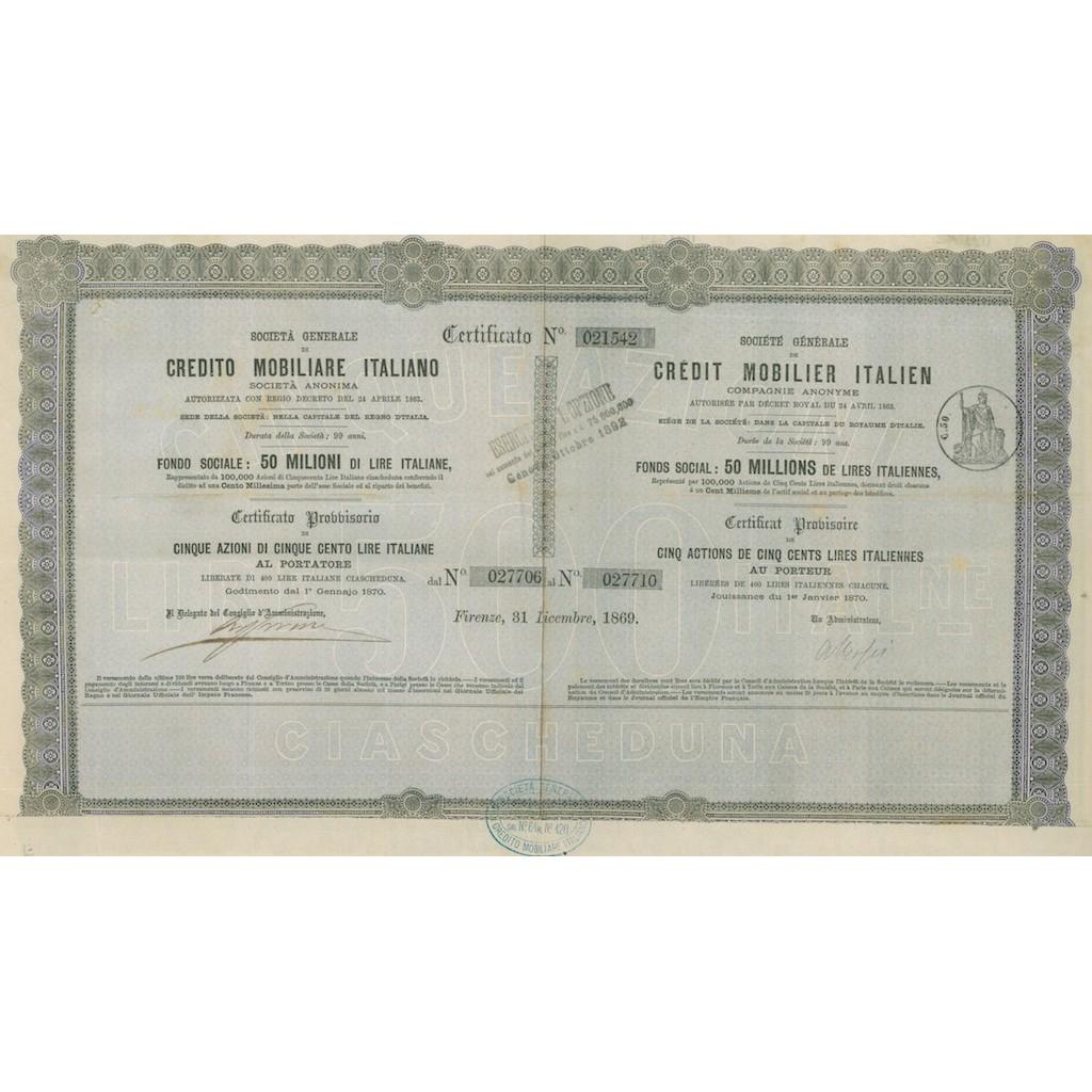 SOC. GENERALE DI CREDITO MOBILIARE ITALIANO 5 AZIONI FIRENZE 1869