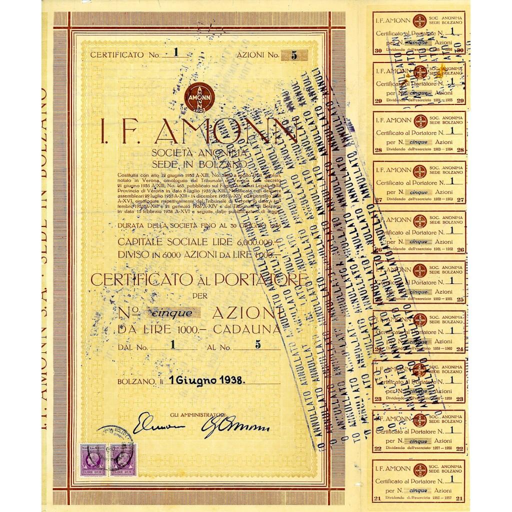 1938 - J.F. AMMON 5 AZIONI - BOLZANO
