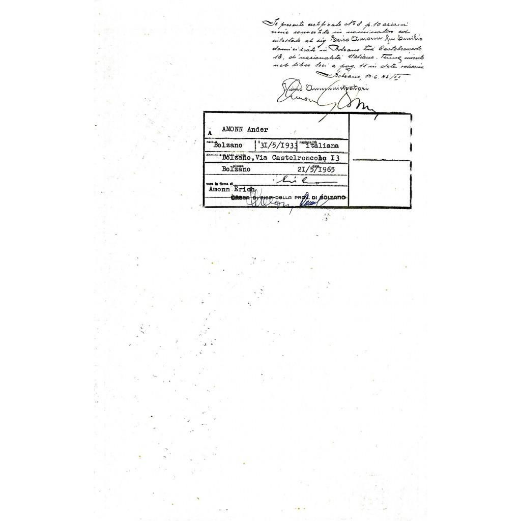 1938 - J.F. AMMON 10 AZIONI - BOLZANO