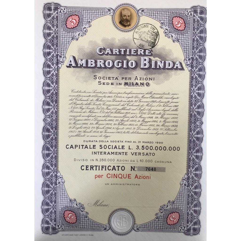 1956 - CARTIERE AMBROGIO BINDA 5...