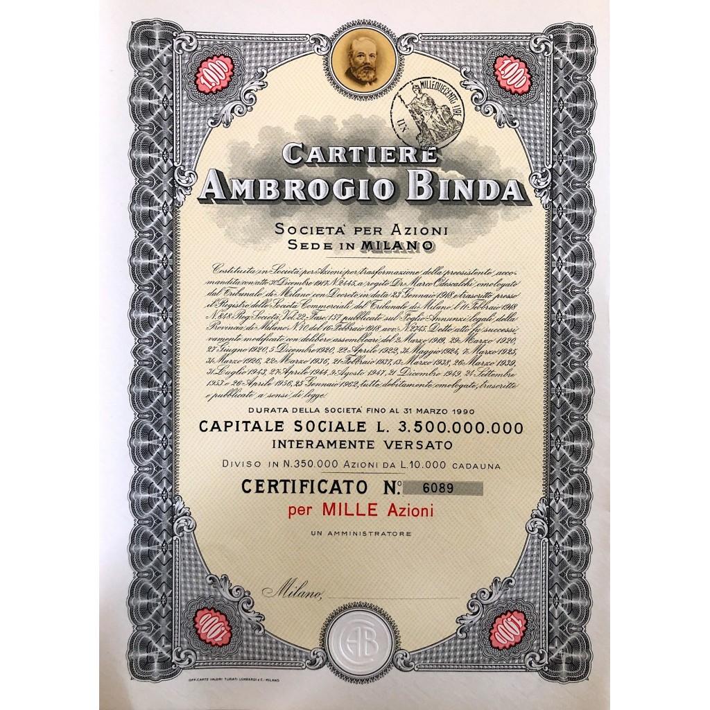 1956 - CARTIERE AMBROGIO BINDA 1.000...
