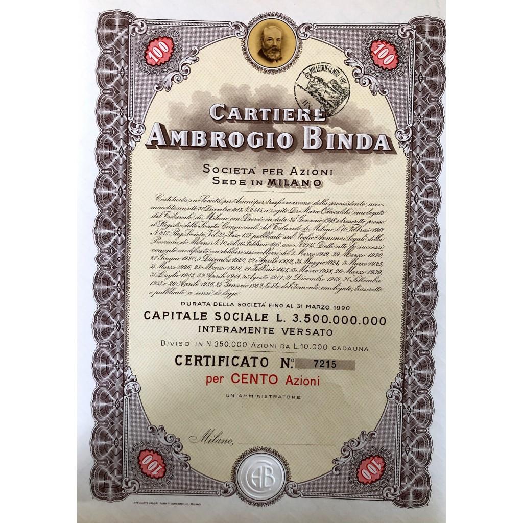 1956 - CARTIERE AMBROGIO BINDA 100...