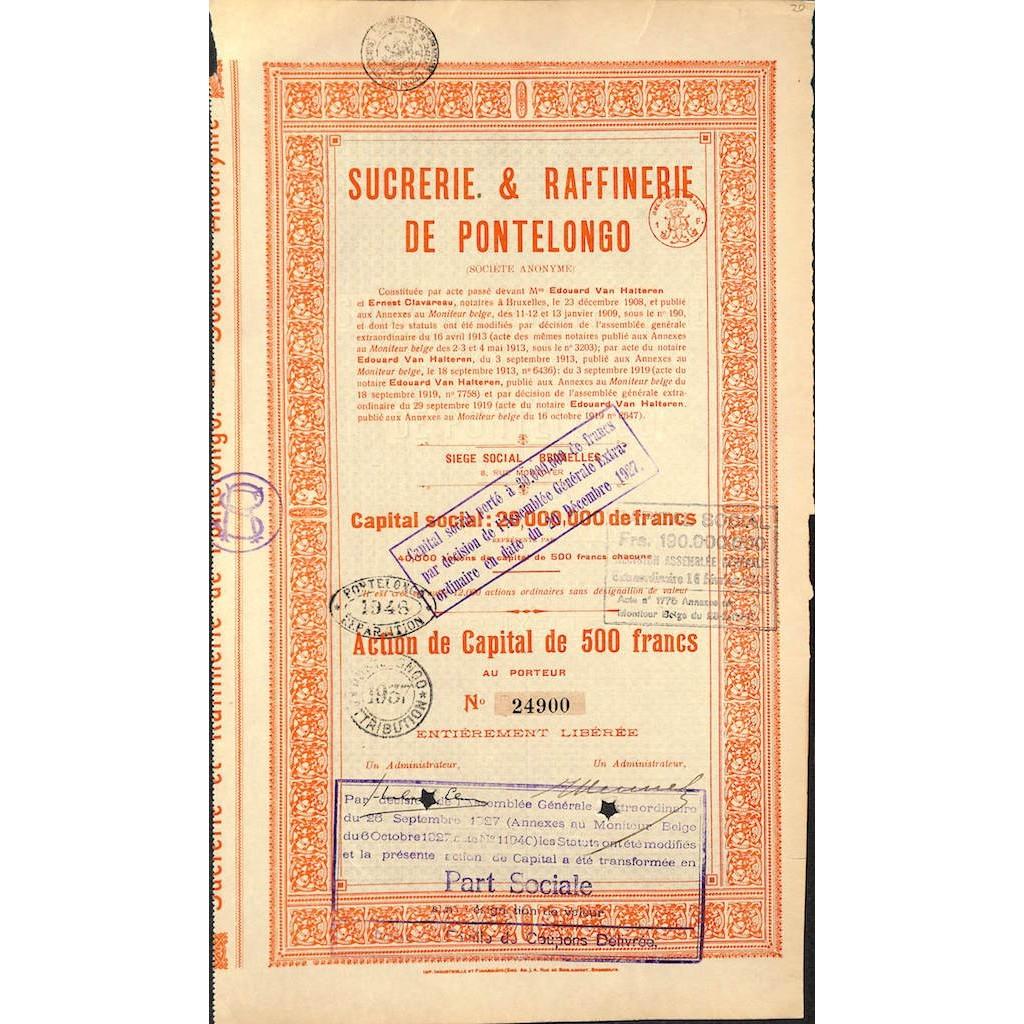 SUCRERIE & RAFFINERIE DE PONTELONGO - 1 ACTION 1908