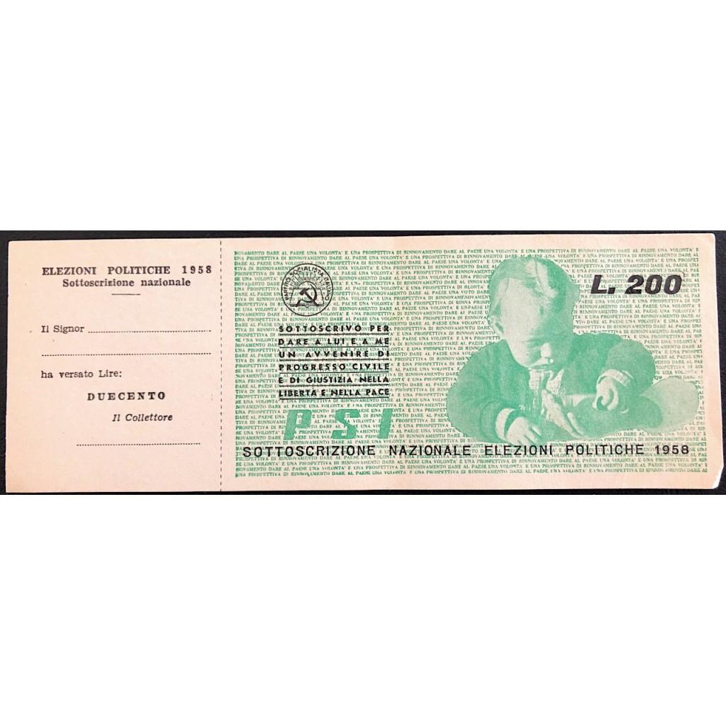 1958 - SOTTOSCRIZIONE PARTITO...