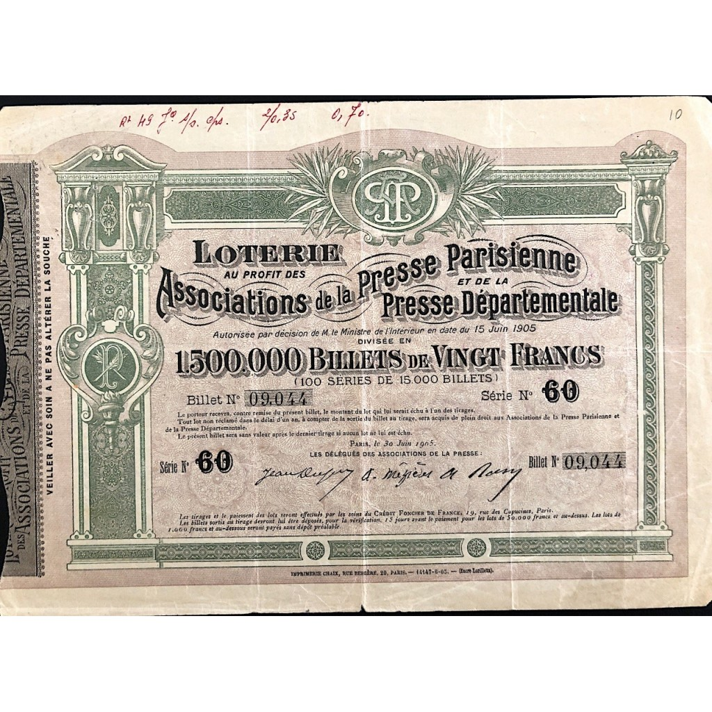 1905 - LOTERIE GROUPEMENT D'OEUVRES...