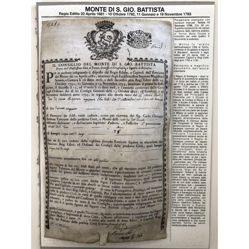 1796 - MONTE S. GIOVANNI BATTISTA -...