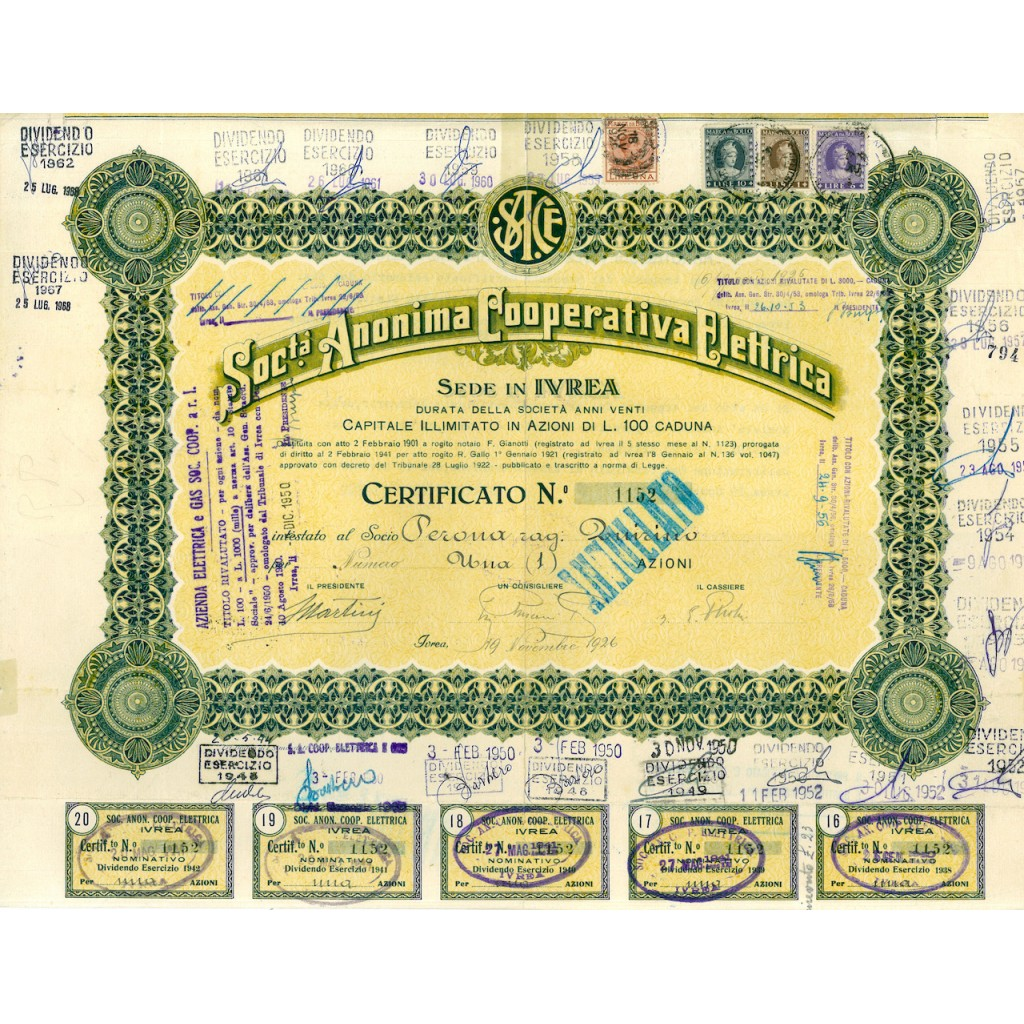 1926 - SOCIETA' ANONIMA COOPERATIVA...