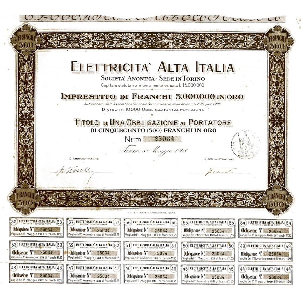 1908 - ELETTRICITA' ALTA ITALIA - 1...