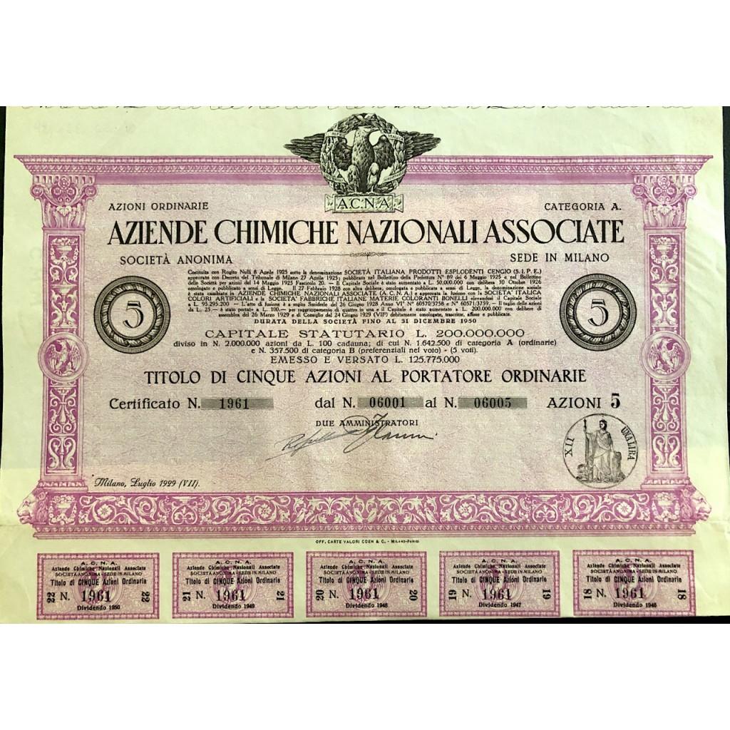 1929 - ACNA AZIENDE CHIMICHE...