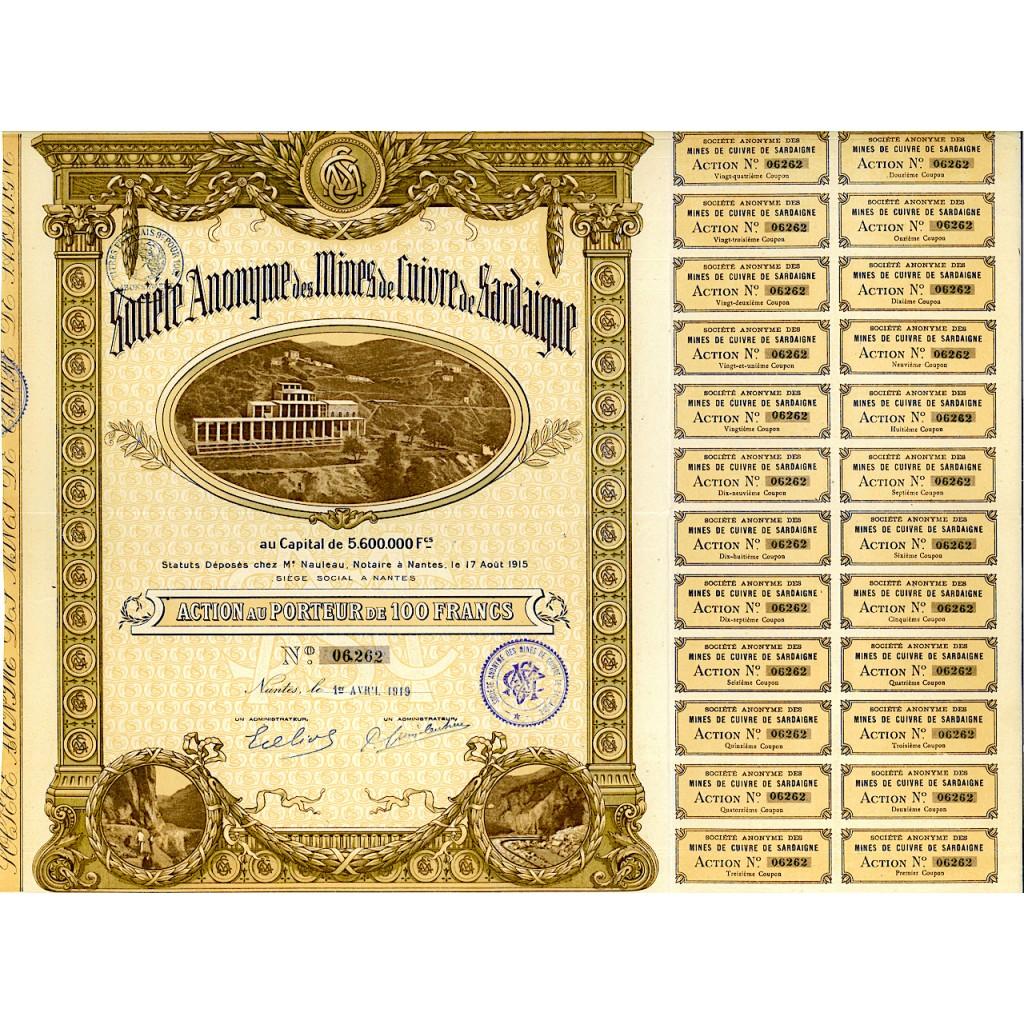 1919 - MINES DE CUIVRE DE SARDAIGNE...