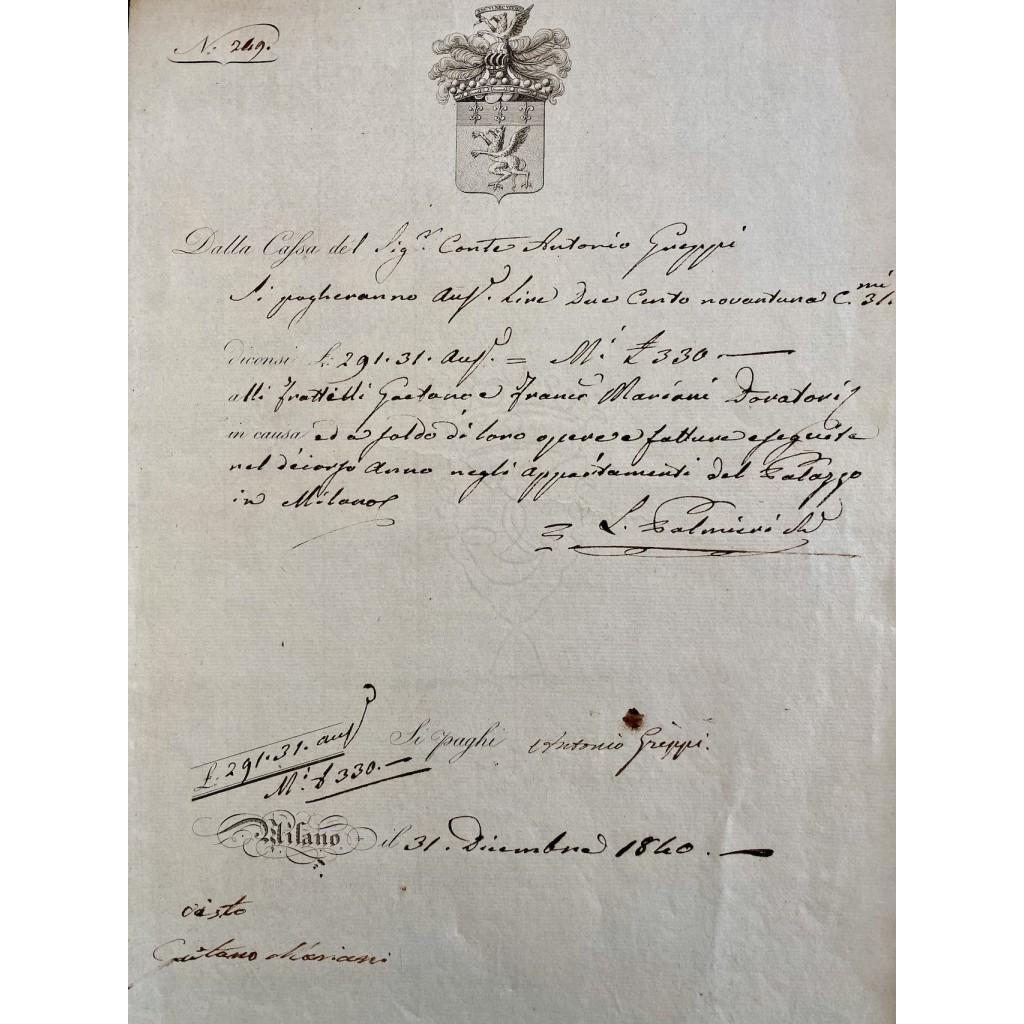 1840 - CASSA CONTI FRATELLI GREPPI -...