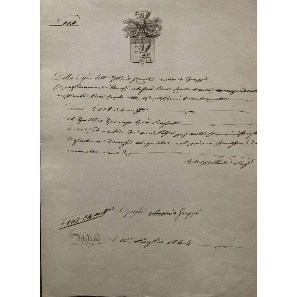 1847 - CASSA CONTI FRATELLI GREPPI -...