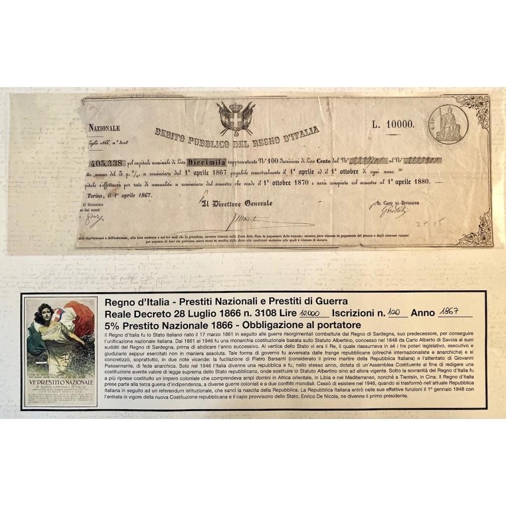 1867 - PRESTITO NAZIONALE CARTELLA...