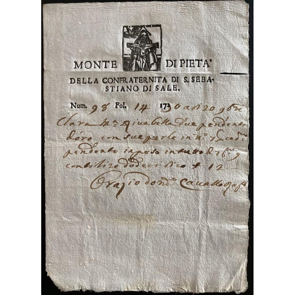 1730 - MONTE DI PIETA' CONFRATERNITA...