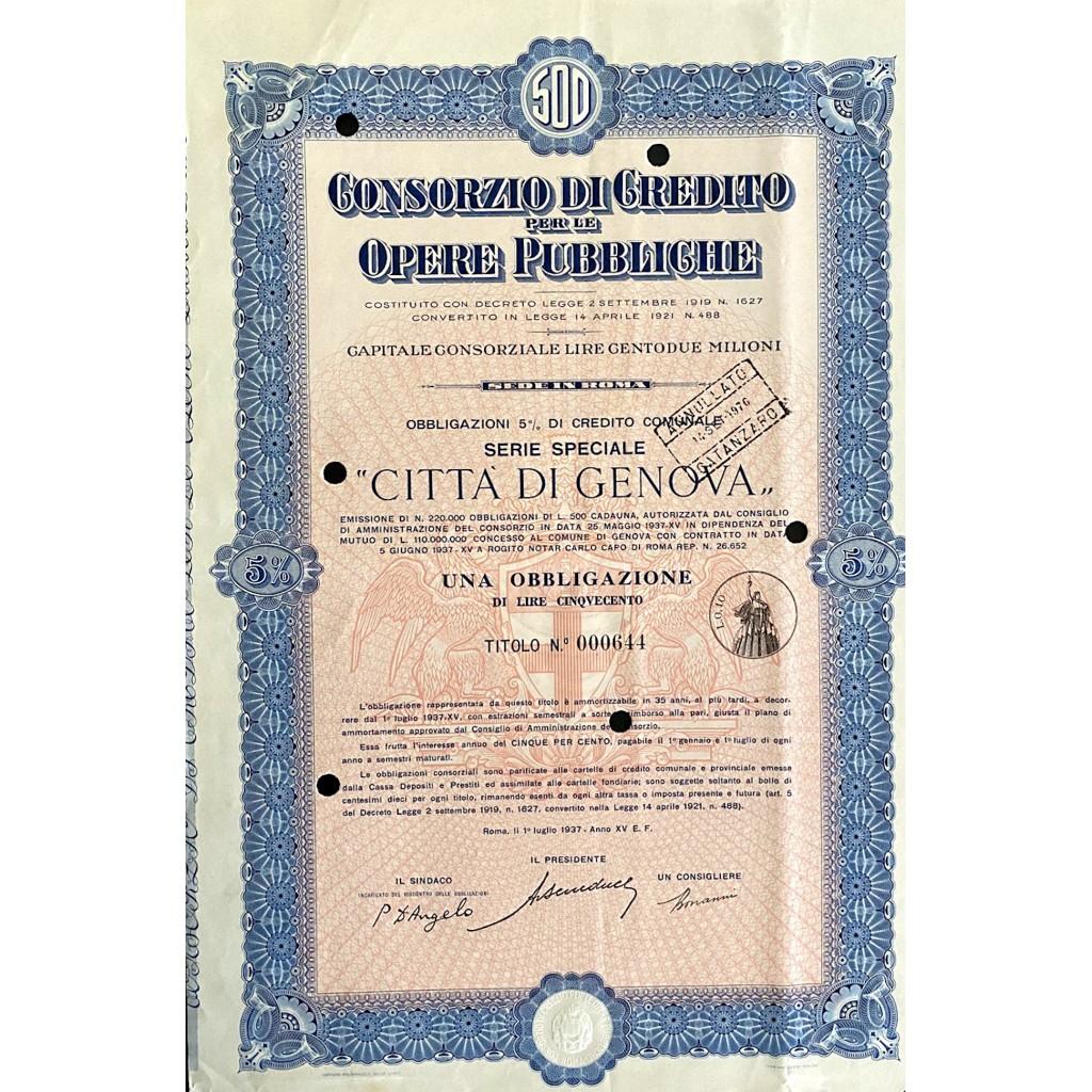 1937 - CONSORZIO DI CREDITO PER LE...