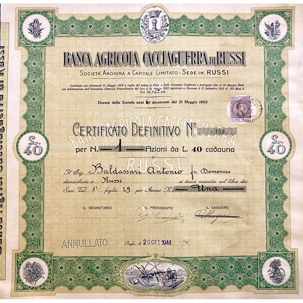 1944 - BANCA AGRICOLA CACCIAGUERRA DI...
