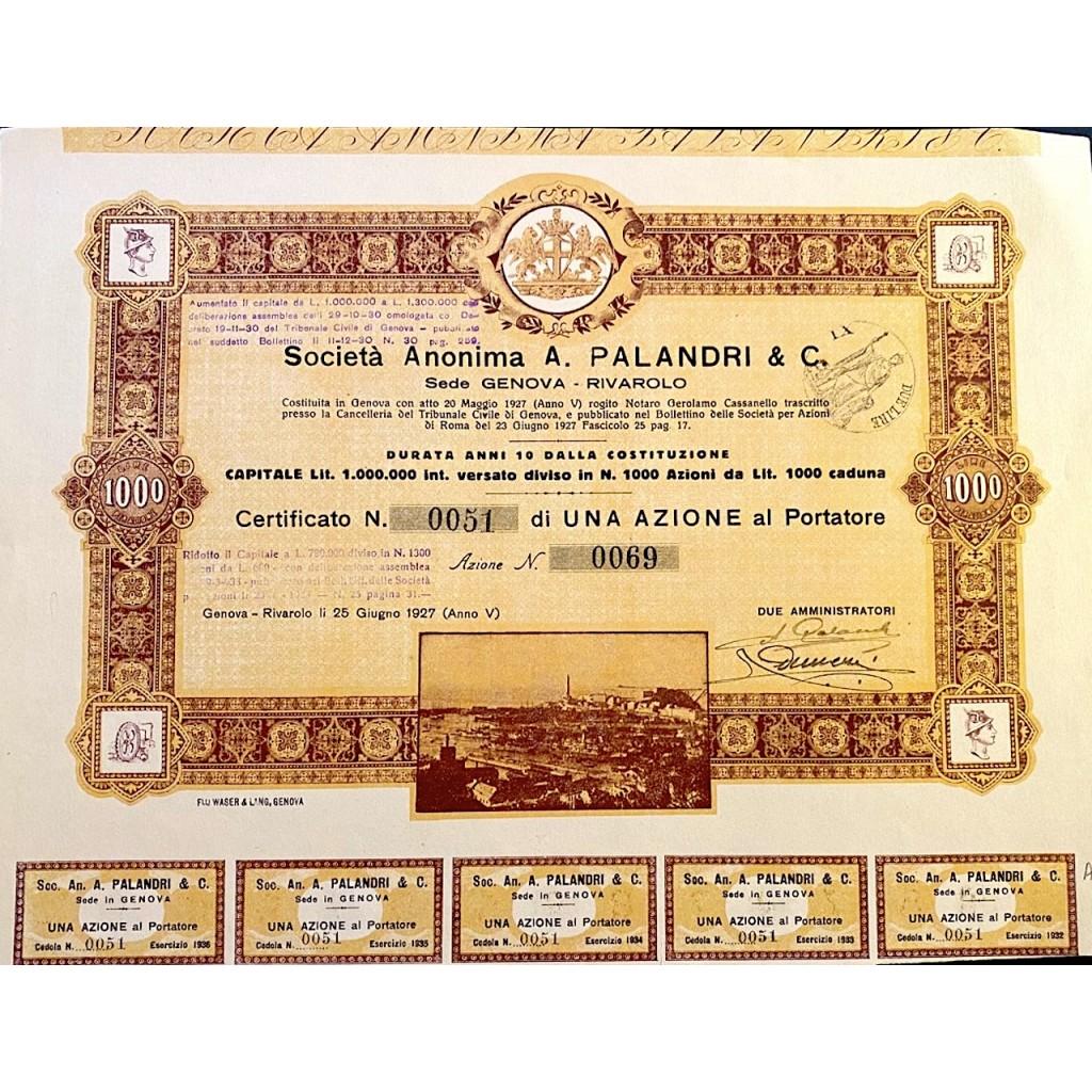 1927 - SOCIETA' ANONIMA A. PALANDRI &...