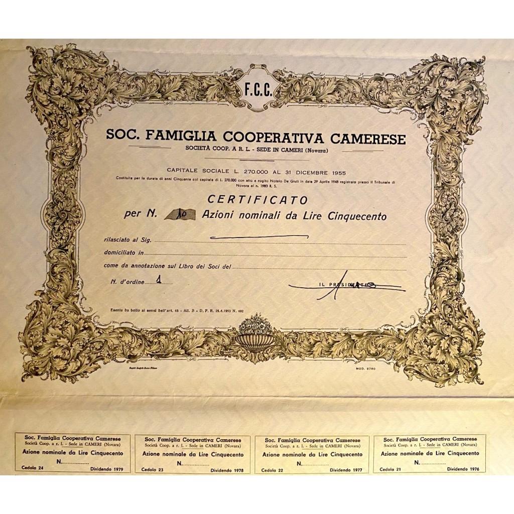 1956 - SOCIETA' FAMIGLIA COOPERATIVA...