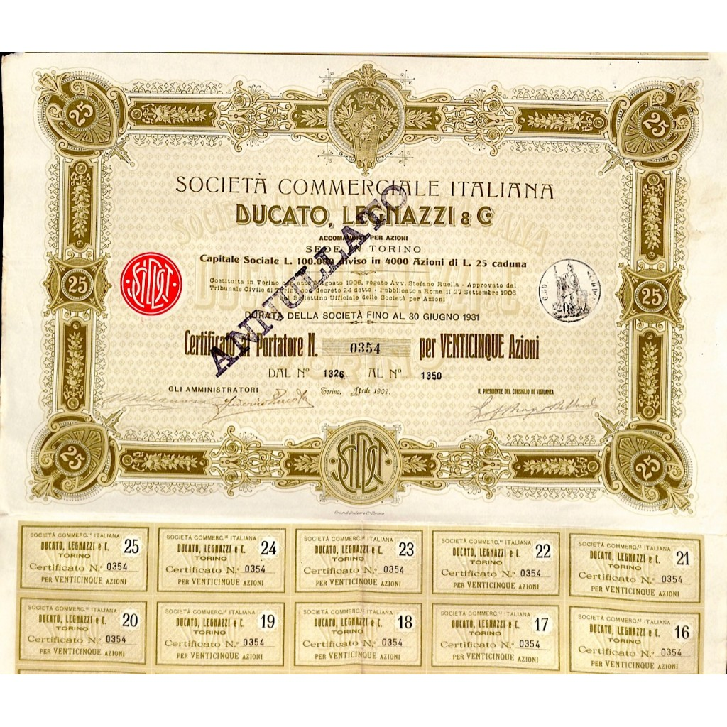 1907 - SOCIETA' COMMERCIALE ITALIANA...
