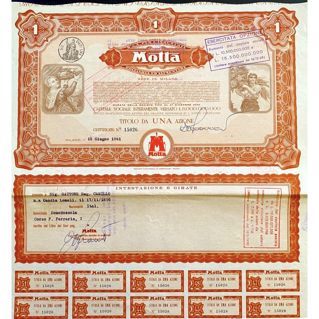 1961 - MOTTA S.p.A PER L'INDUSTRIA...