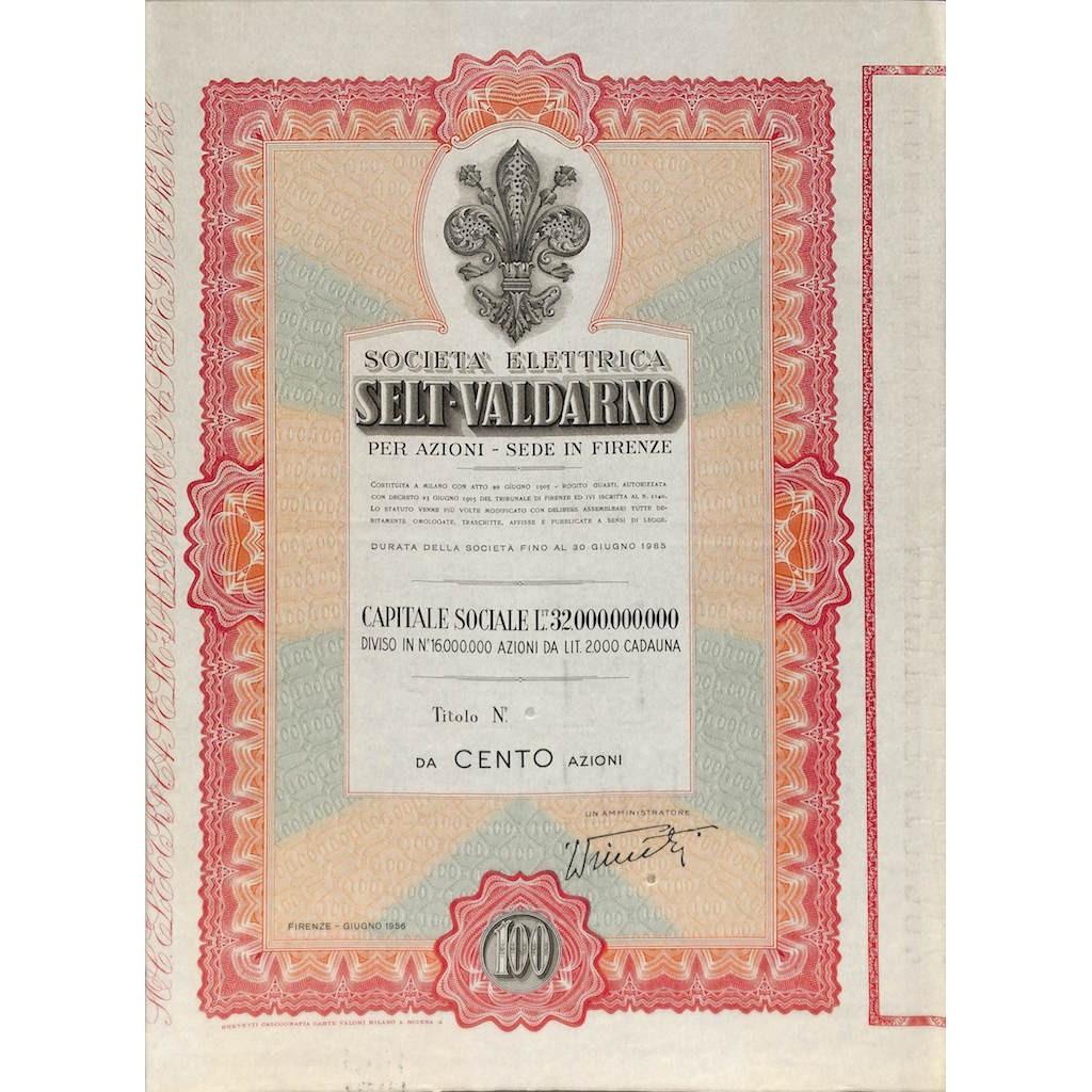 SOC. ELETTRICA SELT-VALDARNO 100 AZIONI FIRENZE 1956