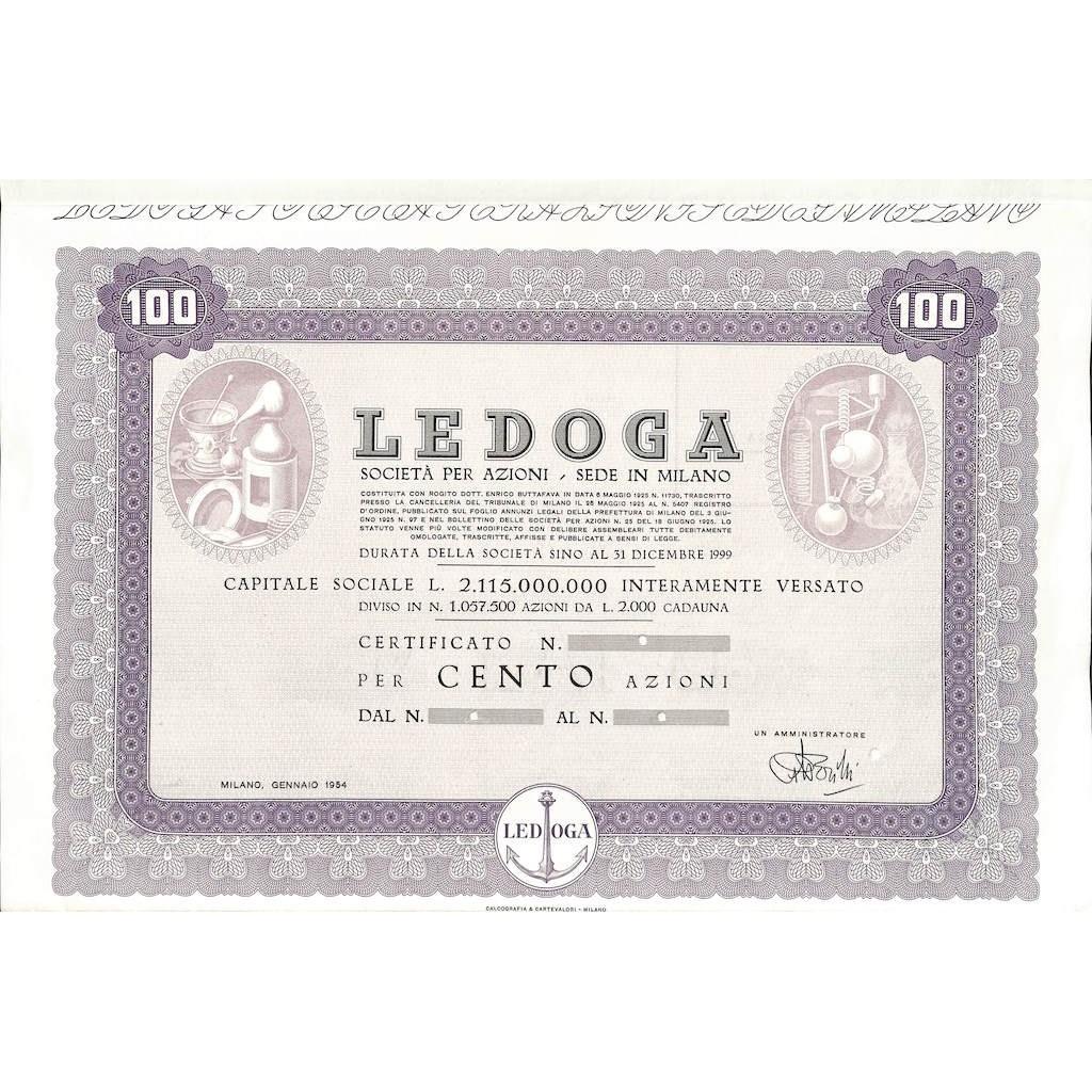 LEDOGA - 100 AZIONI MILANO 1954