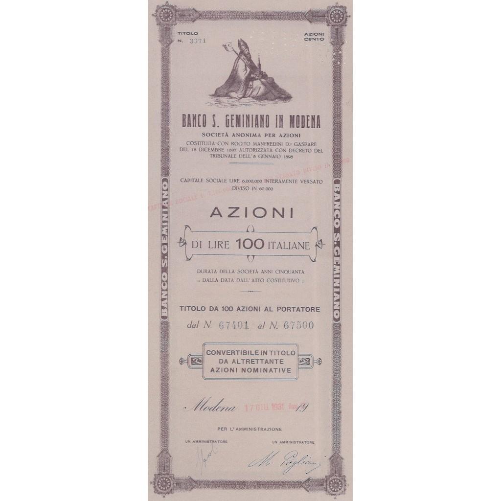 BANCO DI SAN GEMINIANO IN MODENA 100 AZIONI MODENA 1931