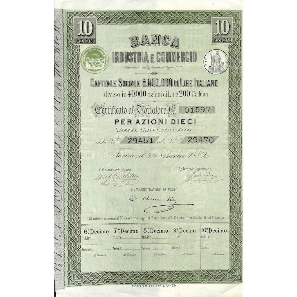 BANCA INDUSTRIA E COMMERCIO - 10 AZIONI TORINO 1882