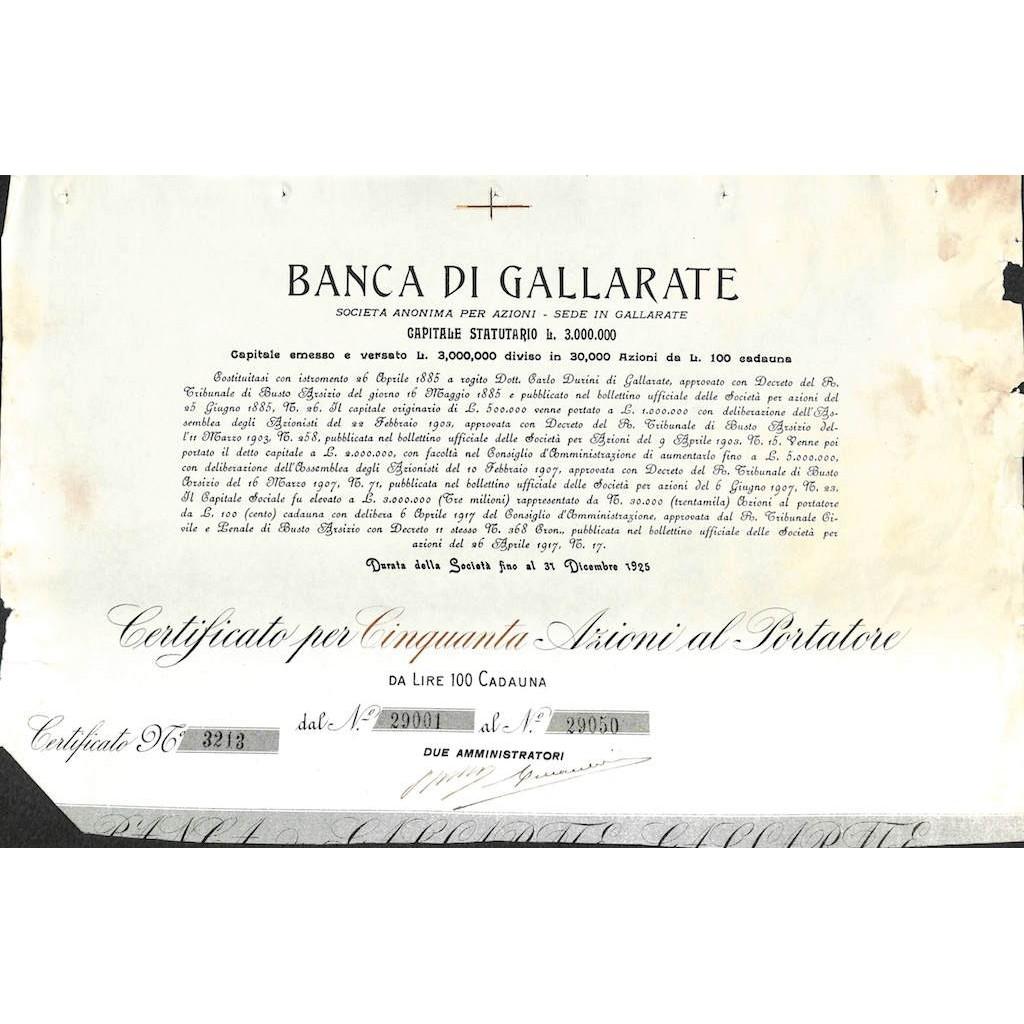 BANCA DI GALLARATE - 50 AZIONI 1885